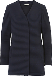 Betty & Co. Ribbed Cardigan Coat, Dark Sapphire - pattern: plain; length: below the bottom; neckline: collarless open; style: open front; predominant colour: navy; occasions: casual, work, creative work; fibres: polyester/polyamide - stretch; fit: standard fit; sleeve length: long sleeve; sleeve style: standard; texture group: knits/crochet; pattern type: knitted - fine stitch; wardrobe: basic; season: a/w 2016