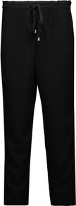 Canvas Straight Leg Pants Black - length: standard; pattern: plain; waist: high rise; waist detail: belted waist/tie at waist/drawstring; predominant colour: black; fibres: viscose/rayon - 100%; texture group: crepes; fit: straight leg; pattern type: fabric; style: standard; occasions: creative work; wardrobe: basic; season: a/w 2016