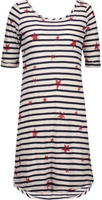 Printed Stretch Jersey Mini Dress White - style: t-shirt; length: mid thigh; neckline: round neck; fit: loose; predominant colour: white; secondary colour: navy; occasions: casual; fibres: cotton - stretch; sleeve length: half sleeve; sleeve style: standard; pattern type: fabric; pattern: patterned/print; texture group: jersey - stretchy/drapey; multicoloured: multicoloured; season: a/w 2016; wardrobe: highlight