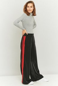 Compete Wide Leg Striped Black Trousers, Black - length: standard; style: palazzo; waist detail: elasticated waist; waist: high rise; secondary colour: true red; predominant colour: black; occasions: casual, creative work; fibres: polyester/polyamide - stretch; fit: wide leg; pattern type: fabric; pattern: colourblock; texture group: jersey - stretchy/drapey; pattern size: standard (bottom); season: a/w 2016; wardrobe: highlight