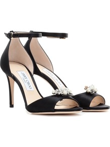 Tori 85 Satin Sandals With Crystal Embellished Clips - predominant colour: black; occasions: evening, occasion; material: satin; heel height: high; embellishment: crystals/glass; ankle detail: ankle tie; heel: stiletto; toe: open toe/peeptoe; style: strappy; finish: plain; pattern: plain; season: a/w 2016; wardrobe: event