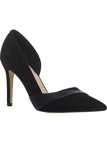 Cai 2 Occasion Asymmetric Court Shoes - predominant colour: black; occasions: evening, occasion; material: faux leather; heel: stiletto; toe: pointed toe; style: courts; finish: metallic; pattern: plain; heel height: very high; season: a/w 2016; wardrobe: event