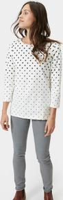 Harbour Print Jersey Top Cream Ombre Spot - style: t-shirt; pattern: polka dot; predominant colour: white; secondary colour: black; occasions: casual; length: standard; fibres: cotton - stretch; fit: straight cut; neckline: crew; sleeve length: 3/4 length; sleeve style: standard; pattern type: fabric; pattern size: standard; texture group: jersey - stretchy/drapey; season: a/w 2016; wardrobe: highlight