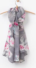 Grey Bloom Julianne Scarf Size One Size | Uk - predominant colour: light grey; occasions: casual; type of pattern: heavy; style: regular; size: standard; material: fabric; pattern: florals; multicoloured: multicoloured; season: a/w 2016; wardrobe: highlight