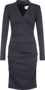 Long Sleeve V Neck Dress - style: shift; neckline: v-neck; pattern: plain; predominant colour: black; occasions: evening; length: on the knee; fit: body skimming; fibres: polyester/polyamide - stretch; sleeve length: long sleeve; sleeve style: standard; pattern type: fabric; texture group: jersey - stretchy/drapey; season: a/w 2016; wardrobe: event