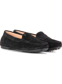 Gommini Suede Loafers - predominant colour: navy; occasions: casual, creative work; material: suede; heel height: flat; toe: round toe; style: loafers; finish: plain; pattern: colourblock; season: a/w 2016; wardrobe: highlight