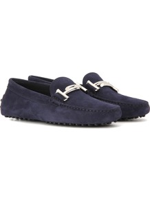 Gommini Double T Suede Loafers - predominant colour: navy; occasions: casual, creative work; material: suede; heel height: flat; embellishment: jewels/stone; toe: round toe; style: loafers; finish: plain; pattern: plain; wardrobe: basic; season: a/w 2016