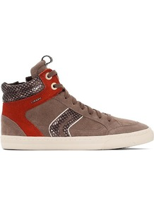 New Club High Top Trainers - secondary colour: bright orange; predominant colour: taupe; occasions: casual; material: suede; heel height: flat; toe: round toe; finish: plain; pattern: colourblock; style: skate shoes; season: a/w 2016; wardrobe: highlight