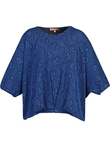 Textured Batwing Top, Royal Blue - sleeve style: dolman/batwing; length: cropped; style: t-shirt; predominant colour: royal blue; secondary colour: navy; occasions: casual; fibres: polyester/polyamide - stretch; fit: loose; neckline: crew; sleeve length: half sleeve; pattern type: fabric; pattern size: standard; pattern: florals; texture group: jersey - stretchy/drapey; season: a/w 2016; wardrobe: highlight