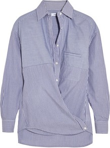 Striped Cotton Poplin Shirt Blue - neckline: shirt collar/peter pan/zip with opening; pattern: striped; style: shirt; predominant colour: royal blue; occasions: casual, creative work; length: standard; fibres: cotton - 100%; fit: body skimming; sleeve length: long sleeve; sleeve style: standard; texture group: cotton feel fabrics; pattern type: fabric; pattern size: standard; season: a/w 2016; wardrobe: highlight