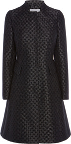 Delano Jacquard Coat - style: princess; collar: high neck; pattern: polka dot; predominant colour: black; occasions: work, occasion; fit: tailored/fitted; fibres: polyester/polyamide - mix; length: below the knee; sleeve length: long sleeve; sleeve style: standard; collar break: high; pattern type: fabric; texture group: brocade/jacquard; pattern size: big & busy (top); season: a/w 2016; wardrobe: highlight