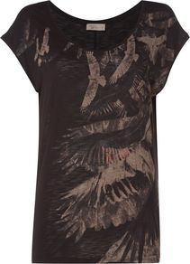 Staten Eagle Print Tee, Black - neckline: round neck; secondary colour: camel; predominant colour: black; occasions: casual; length: standard; style: top; fibres: viscose/rayon - 100%; fit: body skimming; sleeve length: short sleeve; sleeve style: standard; pattern type: fabric; pattern: patterned/print; texture group: jersey - stretchy/drapey; multicoloured: multicoloured; season: a/w 2016; wardrobe: highlight