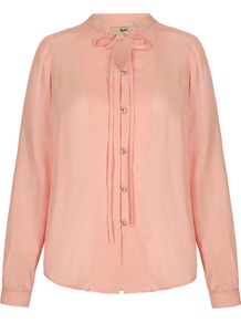 Blouse With Mandarin Collar, Blush - pattern: plain; neckline: pussy bow; style: blouse; predominant colour: blush; length: standard; fibres: polyester/polyamide - 100%; fit: body skimming; sleeve length: long sleeve; sleeve style: standard; texture group: sheer fabrics/chiffon/organza etc.; pattern type: fabric; occasions: creative work; season: a/w 2016; wardrobe: highlight