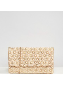 Faux Pearl Scallop Beaded Clutch Bag Multi - secondary colour: gold; predominant colour: champagne; occasions: evening, occasion; type of pattern: standard; style: clutch; length: hand carry; size: standard; material: satin; embellishment: pearls; finish: metallic; pattern: patterned/print; season: a/w 2016; wardrobe: event