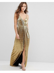 Gold Maxi Cami Dress Gold - neckline: low v-neck; sleeve style: spaghetti straps; pattern: plain; style: maxi dress; bust detail: subtle bust detail; predominant colour: gold; occasions: evening; length: floor length; fit: body skimming; fibres: polyester/polyamide - 100%; sleeve length: sleeveless; pattern type: fabric; texture group: jersey - stretchy/drapey; season: a/w 2016; wardrobe: event
