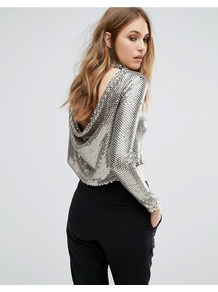 Sequin Crop Top With Cowl Back Silver/Black - neckline: round neck; pattern: plain; length: cropped; back detail: back revealing; predominant colour: silver; occasions: evening; style: top; fibres: polyester/polyamide - 100%; fit: body skimming; sleeve length: long sleeve; sleeve style: standard; pattern type: fabric; texture group: jersey - stretchy/drapey; embellishment: sequins; season: a/w 2016; wardrobe: event; trends: metallics, sparkle; embellishment location: all over