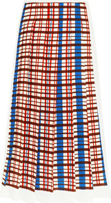 Pleated Checked Crepe Midi Skirt Cobalt Blue - length: below the knee; pattern: checked/gingham; fit: loose/voluminous; style: pleated; waist: high rise; predominant colour: tan; fibres: viscose/rayon - 100%; texture group: crepes; pattern type: fabric; occasions: creative work; pattern size: big & busy (bottom); multicoloured: multicoloured; season: a/w 2016; wardrobe: highlight