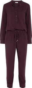 Chelsea Voile Jumpsuit Merlot - length: standard; pattern: plain; waist detail: belted waist/tie at waist/drawstring; predominant colour: burgundy; occasions: casual; fit: body skimming; neckline: collarstand & mandarin with v-neck; fibres: viscose/rayon - 100%; sleeve length: long sleeve; sleeve style: standard; style: jumpsuit; pattern type: fabric; texture group: jersey - stretchy/drapey; season: a/w 2016; wardrobe: highlight