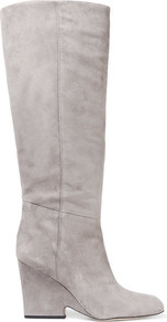 Whitney Suede Knee Boots Gray - predominant colour: light grey; occasions: casual, creative work; material: suede; heel height: mid; heel: block; toe: round toe; boot length: knee; style: standard; finish: plain; pattern: plain; wardrobe: investment; season: a/w 2016