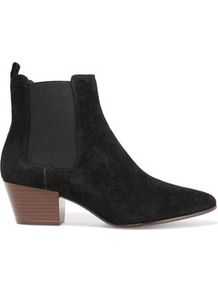 Reesa Suede Ankle Boots Black - predominant colour: black; occasions: casual, work, creative work; material: suede; heel height: mid; embellishment: elasticated; heel: block; toe: pointed toe; boot length: ankle boot; style: standard; finish: plain; pattern: plain; wardrobe: basic; season: a/w 2016