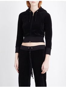 Cropped Velour Hoody, Women's, Size: Small, Pitch Black - neckline: v-neck; pattern: plain; length: cropped; back detail: hood; predominant colour: black; occasions: casual, activity; style: top; fibres: cotton - mix; fit: tight; sleeve length: 3/4 length; sleeve style: standard; pattern type: fabric; texture group: velvet/fabrics with pile; season: a/w 2016