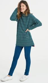 Cornwall Sweatshirt Pine Stripe - sleeve style: dolman/batwing; pattern: horizontal stripes; neckline: high neck; length: below the bottom; style: t-shirt; predominant colour: navy; secondary colour: emerald green; occasions: casual; fibres: cotton - stretch; fit: loose; sleeve length: long sleeve; pattern type: fabric; pattern size: standard; texture group: jersey - stretchy/drapey; season: a/w 2016; wardrobe: highlight