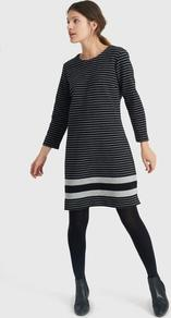 Marie Jersey Dress Black Grey Stripe - style: shift; pattern: horizontal stripes; secondary colour: white; predominant colour: black; occasions: evening; length: just above the knee; fit: straight cut; fibres: polyester/polyamide - stretch; neckline: crew; sleeve length: long sleeve; sleeve style: standard; pattern type: fabric; texture group: jersey - stretchy/drapey; multicoloured: multicoloured; season: a/w 2016; wardrobe: event