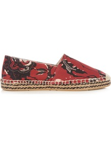 Étoile Canaee Floral Print Espadrilles - predominant colour: terracotta; secondary colour: black; occasions: casual; material: fabric; heel height: flat; toe: round toe; finish: plain; pattern: patterned/print; style: espadrilles; season: a/w 2016; wardrobe: highlight