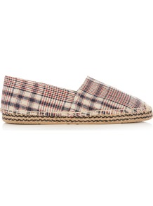 Étoile Canaee Checked Canvas Espadrilles - predominant colour: stone; secondary colour: black; occasions: casual; material: fabric; heel height: flat; toe: round toe; finish: plain; pattern: checked/gingham; style: espadrilles; season: a/w 2016; wardrobe: highlight