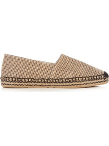 Étoile Canaee Checked Canvas Espadrilles - secondary colour: navy; predominant colour: camel; occasions: casual; material: fabric; heel height: flat; toe: round toe; finish: plain; pattern: checked/gingham; style: espadrilles; season: a/w 2016; wardrobe: highlight