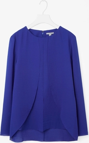 Petal Drape Blouse - pattern: plain; style: blouse; predominant colour: royal blue; occasions: casual, creative work; length: standard; fibres: polyester/polyamide - 100%; fit: loose; neckline: crew; sleeve length: long sleeve; sleeve style: standard; texture group: crepes; pattern type: fabric; season: a/w 2016; wardrobe: highlight