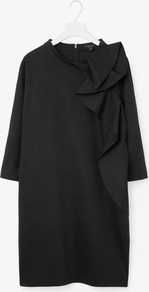 Rounded Drape Dress - style: shift; neckline: round neck; pattern: plain; predominant colour: black; occasions: evening; length: just above the knee; fit: straight cut; fibres: cotton - stretch; sleeve length: 3/4 length; sleeve style: standard; bust detail: tiers/frills/bulky drapes/pleats; pattern type: fabric; texture group: woven light midweight; season: a/w 2016; wardrobe: event
