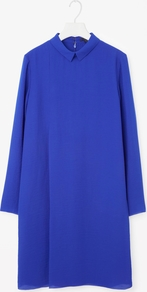 Pleated Raw Cut Dress - style: jumper dress; fit: loose; pattern: plain; predominant colour: royal blue; occasions: evening; length: just above the knee; fibres: polyester/polyamide - 100%; neckline: no opening/shirt collar/peter pan; hip detail: structured pleats at hip; sleeve length: long sleeve; sleeve style: standard; texture group: crepes; pattern type: fabric; season: a/w 2016; wardrobe: event