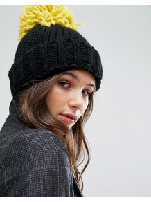 Oversized Beanie Hat Solid Black/Mustard - secondary colour: yellow; predominant colour: black; occasions: casual; type of pattern: standard; style: bobble; size: standard; material: knits; pattern: plain; embellishment: bobble; wardrobe: basic; season: a/w 2016