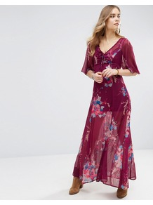 Bouquet Maxi Dress Burgundy/Teal - neckline: low v-neck; sleeve style: angel/waterfall; fit: empire; style: maxi dress; predominant colour: burgundy; secondary colour: purple; occasions: evening; length: floor length; fibres: polyester/polyamide - 100%; sleeve length: half sleeve; texture group: sheer fabrics/chiffon/organza etc.; pattern type: fabric; pattern size: standard; pattern: florals; season: a/w 2016; wardrobe: event