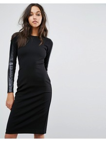Bodycon Dress With Real Leather Sleeve Deatil Black - length: below the knee; fit: tight; pattern: plain; style: bodycon; predominant colour: black; occasions: evening; fibres: viscose/rayon - stretch; neckline: crew; sleeve length: long sleeve; sleeve style: standard; texture group: jersey - clingy; pattern type: fabric; season: a/w 2016; wardrobe: event