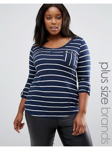 Plus Striped T Shirt With Zip Pocket Detail Navy - pattern: horizontal stripes; style: t-shirt; hip detail: fitted at hip; secondary colour: white; predominant colour: navy; occasions: casual; length: standard; neckline: scoop; fibres: viscose/rayon - 100%; fit: body skimming; sleeve length: 3/4 length; sleeve style: standard; pattern type: fabric; texture group: jersey - stretchy/drapey; multicoloured: multicoloured; wardrobe: basic; season: a/w 2016