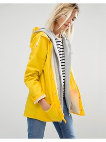 Waterproof Jacket Yellow - pattern: plain; collar: round collar/collarless; fit: loose; length: below the bottom; back detail: hood; style: boyfriend; predominant colour: yellow; occasions: casual; fibres: polyester/polyamide - mix; sleeve length: long sleeve; sleeve style: standard; texture group: technical outdoor fabrics; collar break: high; pattern type: fabric; season: a/w 2016; wardrobe: highlight