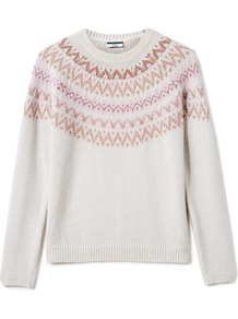 Alpaca Fairisle Jumper, Neutral - neckline: round neck; style: standard; predominant colour: ivory/cream; occasions: casual; length: standard; fibres: wool - mix; fit: standard fit; sleeve length: long sleeve; sleeve style: standard; texture group: knits/crochet; pattern type: knitted - fine stitch; pattern size: light/subtle; pattern: patterned/print; season: a/w 2016; wardrobe: highlight