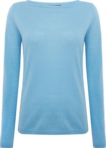 Ampex Cashmere Crew Neck Jumper, Sky Blue - neckline: slash/boat neckline; pattern: plain; style: standard; predominant colour: pale blue; occasions: casual, creative work; length: standard; fit: slim fit; fibres: cashmere - 100%; sleeve length: long sleeve; sleeve style: standard; texture group: knits/crochet; pattern type: knitted - fine stitch; season: a/w 2016; wardrobe: highlight