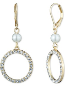 Leverback Earrings, N/A - predominant colour: gold; occasions: evening, occasion; style: drop; length: mid; size: standard; material: chain/metal; fastening: pierced; finish: metallic; embellishment: crystals/glass; season: a/w 2016; wardrobe: event