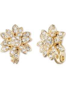 Flower Stud Earrings, N/A - predominant colour: gold; occasions: evening, occasion; style: stud; length: short; size: standard; material: chain/metal; fastening: pierced; finish: metallic; embellishment: crystals/glass; season: a/w 2016; wardrobe: event