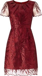 Short Sleeve Embroidered Cocktail Dress, Crimson - neckline: round neck; pattern: plain; predominant colour: burgundy; occasions: evening, occasion; length: on the knee; fit: fitted at waist & bust; style: fit & flare; fibres: polyester/polyamide - 100%; sleeve length: short sleeve; sleeve style: standard; texture group: sheer fabrics/chiffon/organza etc.; pattern type: fabric; embellishment: embroidered; season: a/w 2016; wardrobe: event; embellishment location: pattern