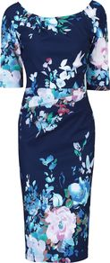 Retro Floral Half Sleeve Ruched Dress, Navy - style: shift; neckline: round neck; secondary colour: pale blue; predominant colour: navy; occasions: evening; length: on the knee; fit: body skimming; fibres: polyester/polyamide - stretch; sleeve length: half sleeve; sleeve style: standard; pattern type: fabric; pattern size: big & busy; pattern: florals; texture group: jersey - stretchy/drapey; multicoloured: multicoloured; season: a/w 2016; wardrobe: event
