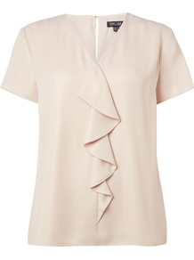 Ruffle Short Sleeved Top, Pink - neckline: v-neck; pattern: plain; style: blouse; predominant colour: blush; occasions: casual, creative work; length: standard; fibres: polyester/polyamide - 100%; fit: straight cut; sleeve length: short sleeve; sleeve style: standard; texture group: crepes; bust detail: tiers/frills/bulky drapes/pleats; pattern type: fabric; season: a/w 2016; wardrobe: highlight