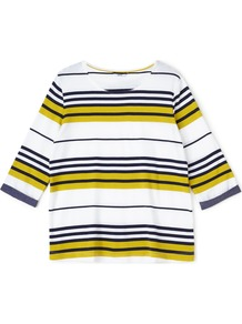 Chartreuse Stripe Jersey Top, Multi Coloured - neckline: round neck; pattern: horizontal stripes; predominant colour: yellow; occasions: casual, creative work; length: standard; style: top; fibres: cotton - 100%; fit: body skimming; sleeve length: 3/4 length; sleeve style: standard; pattern type: fabric; texture group: jersey - stretchy/drapey; pattern size: big & busy (top); multicoloured: multicoloured; season: a/w 2016; wardrobe: highlight