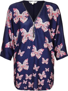 Beige Butterfly Printed Top, Navy - neckline: v-neck; sleeve style: dolman/batwing; style: blouse; bust detail: buttons at bust (in middle at breastbone)/zip detail at bust; secondary colour: pink; predominant colour: navy; length: standard; fibres: polyester/polyamide - 100%; fit: straight cut; sleeve length: 3/4 length; texture group: crepes; pattern type: fabric; pattern size: standard; pattern: florals; occasions: creative work; season: a/w 2016; wardrobe: highlight