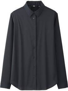 Women Supima Cotton Stretch Long Sleeve Shirt Black - neckline: shirt collar/peter pan/zip with opening; pattern: plain; style: shirt; predominant colour: black; occasions: casual, creative work; length: standard; fibres: cotton - 100%; fit: straight cut; sleeve length: long sleeve; sleeve style: standard; texture group: cotton feel fabrics; pattern type: fabric; wardrobe: basic; season: a/w 2016