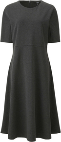 Women Ponte Flare Short Sleeve Dress Dark Gray - pattern: plain; predominant colour: charcoal; occasions: work; length: on the knee; fit: fitted at waist & bust; style: fit & flare; fibres: cotton - stretch; neckline: crew; sleeve length: short sleeve; sleeve style: standard; pattern type: fabric; texture group: jersey - stretchy/drapey; wardrobe: investment; season: a/w 2016