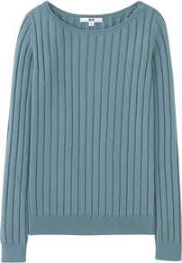 Women Cotton Cashmere Ribbed Sweater Blue - neckline: round neck; pattern: plain; style: standard; predominant colour: denim; occasions: casual, creative work; length: standard; fibres: cotton - mix; fit: standard fit; sleeve length: long sleeve; sleeve style: standard; texture group: knits/crochet; pattern type: knitted - other; season: a/w 2016; wardrobe: highlight